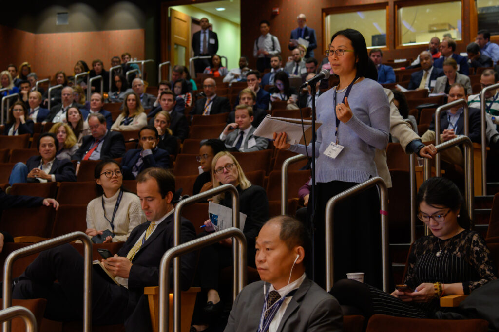Attendee asking a question at FMQ 2019