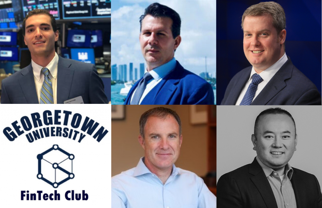Chris Matturri (MBA'22), fintech MBA fellow, Georgetown University McDonough School of Business; Jack McDonald (F'88, L'93), chief executive officer and board member, PolySign, Inc.; James Koutoulas, chief executive officer, Typhon Capital Management; Michael Moro (B'00), chief executive officer, Genesis; and Tim McCourt, managing director and global head of equities and alternative products, CME Group.